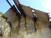 foto of crippled  - Derelict coastal building roof photographed at The Lizard in Cornwall - JPG