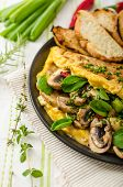stock photo of french-toast  - Omelet with mushrooms lamb - JPG