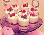 picture of buffet  - candy buffet with souffle in glasses and paper labels for text - JPG