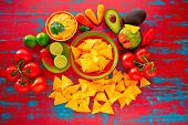 pic of nachos  - Mexican food nachos and guacamole with chili peppers and sauces - JPG