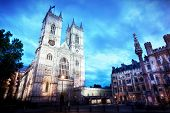 image of london night  - Westminster Abbey church facade at night - JPG