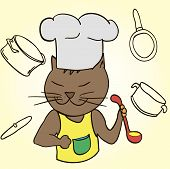 image of chef cap  - Cat Chef With Ladle In His Paws And Cap - JPG