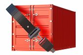 picture of safety  - container with safety belt safety delivery and insurance concept - JPG