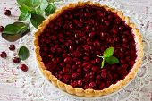 stock photo of shortbread  - Homemade cherry pie shortbread dough and cherry jelly on top - JPG