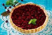 image of shortbread  - Homemade cherry pie shortbread dough and cherry jelly on top - JPG