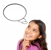Hispanic Teen Aged Girl With Blank Thought Bubble