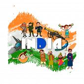 picture of indian independence day  - Creative illustration showing Indian culture - JPG