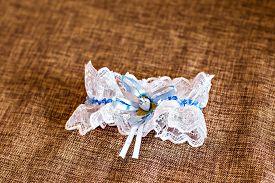 image of garter-belt  - Beautiful wedding white bridal garter - JPG