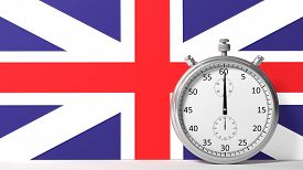 image of chronometer  - Flag of United Kingdom with chronometer - JPG