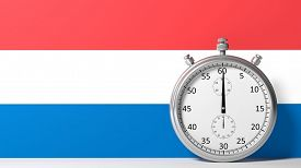 image of chronometer  - Flag of Netherlands with chronometer - JPG