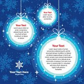 Christmas template with copy space in blue colors, vector. More variants in portfolio.