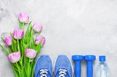 Spring Flatlay Composition With Sport Equipment And Tulips. poster