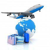 Verkehrsflugzeug und Koffer mit einem Globus im Hintergrund