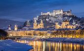 Classic View Of Salzburg At Christmas Time In Winter, Austria poster