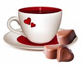 Vector illustration. Cup of tea and heart-shaped chocolates.