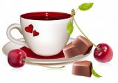 Photo-realistic vector illustration. Cup of tea (coffee), heart-shaped chocolates and ripe cherries.