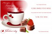 Photo-realistic vector illustration. Cup of tea (coffee) heart-shaped chocolates and ripe strawberry.