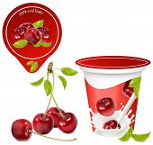 Vector illustration. Background for design of packing yoghurt with photo-realistic vector of cherry. Red ripe  cherry with leaves.