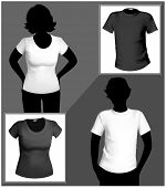 Men's and women's white and black t-shirt template with human body silhouette.