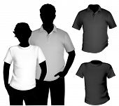 Vector. Men's black and white t-shirt and polo shirt template with human body silhouette.