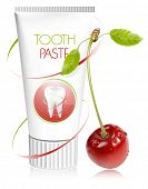 Vector illustration. Toothpaste with cherry.