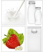 Vector illustration. Elements for design of packing milk dairy. Milky splash. Ripe strawberry with leaves and flowers.