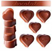 Photo-realistic vector illustration of chocolates.  Heart-shaped chocolates.