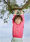 little girl on the tree