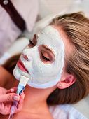 Facial treatment of woman. Clay face mask and beautician hands that holding cosmetic brush in spa sa poster