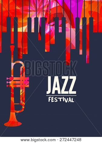 Jazz Music Festival Poster With Piano Keyboard And Trumpet Vector Illustration Design. Music Backgro poster