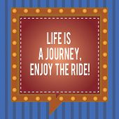 Word Writing Text Life Is A Journey Enjoy The Ride. Business Concept For Enjoying Things That Happen poster