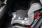 Child Safety Seat In The Back Of The Car. Baby Car Seat For Safety. Car Interior. Car Detailing. Chi poster