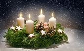 Advent Wreath From Evergreen Branches With White Candles, The Fourth Is Burning For The Time Before  poster
