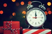 New Years Eve. Midnight Clock And Gifts poster