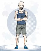 Handsome Bald Young Man Standing. Vector Illustration Of Sportsman With Beard And Whiskers.  Active  poster