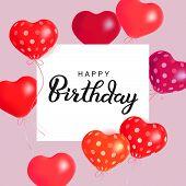 Hearts Air Balloons. Holiday Illustration Of Soaring Balloon Hearts And Paper Banner. Happy Birthday poster