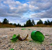 broken glass bottle on road