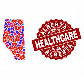 Healthcare Composition Of Bright Medical Mosaic Map Of Alberta Province And Scratched Stamp. Vector  poster