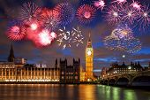 Big Ben With Firework In London, England (celebration Of The New Year) poster
