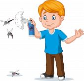 Vector Illustration Of Cartoon Boy Spraying Insect Killer To Mosquitoes poster