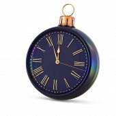 Christmas Ball Clock New Years Eve Midnight Last Hour Countdown poster