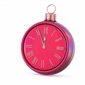 New Year Time 12 Clock Midnight Last Hour Countdown Pressure. Christmas Ball Decoration Ornament Red poster