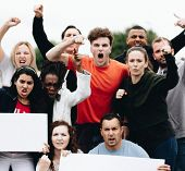 Group of angry activists is protesting poster