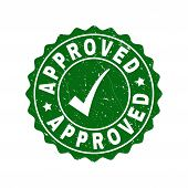 Vector Approved Grunge Stamp Seal With Tick Inside. Green Approved Mark With Grunge Surface. Round R poster