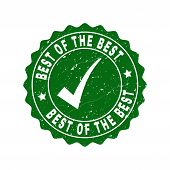Vector Best Of The Best Grunge Stamp Seal With Tick Inside. Green Best Of The Best Sign With Distres poster