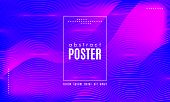 Abstract Background With Fluid Shapes. Wave Distorted Lines. Movement Of Abstract Neon Liquid. Trend poster