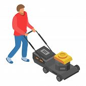 Man Use Motor Lawnmower Icon. Isometric Of Man Use Motor Lawnmower Vector Icon For Web Design Isolat poster