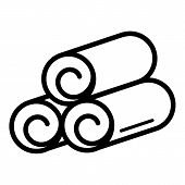 Rolled Towel Icon. Outline Rolled Towel Vector Icon For Web Design Isolated On White Background poster