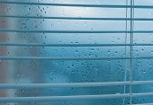 Water Drops From Home Condensation On A Window. Misted Glass Background. Strong Humidity In Winterti poster