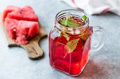 Watermelon Fruit Juice With Mint Leaves In Mason Jar poster